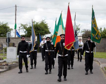 The Irish Republican Socialist Party gather with full military to march to Bornabreena cemetery in Commemorating John Morris who was a former member of the INLA. 14/6/2015 Picture by Fergal Phillips