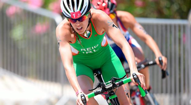 Aileen Reid, Ireland, during the cycling discipline of the women's triathlon event