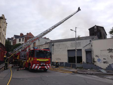 The scene of the fire at a disused property in Dublin 8 (Photo: Conor Feehan)