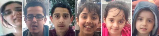Sugra Dawood (left) with her children (left to right) Junaid Ahmed Iqbal, Ibrahim Iqbal, Zaynab Iqbal, Mariya Iqbal and Ismaeel Iqbal who are 12 members of the same family who are feared to have travelled to war-torn Syria Credit: Khan Solicitors/PA Wire