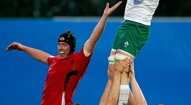 Ireland's Alex Thompson wins possession in a lineout at the World Rugby U20 Championship 5th Place Semi-Final,