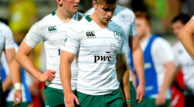 Dejected Ireland players after their defeat to Wales at the World Rugby U20 Championship