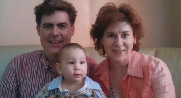 Martha pictured with her late husband Kevin and her son Sergei