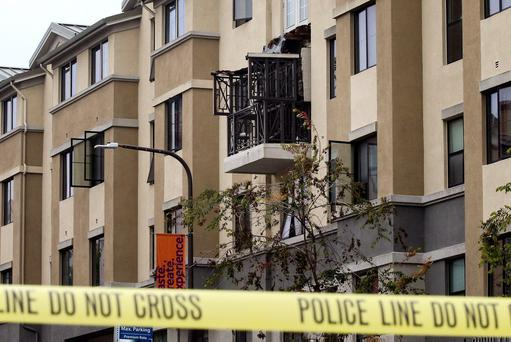 The fourth-floor balcony at the apartment complex collapsed onto the one below