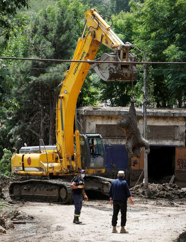 An excavator removes a dead bear at the zoo in Tbilisi, Georgia, June 17, 2015. Tigers, lions, bears and wolves were among more than 30 animals that escaped from a Georgian zoo and onto the streets of the capital Tbilisi on Sunday during floods that killed at least 12 people. REUTERS/David Mdzinarishvili