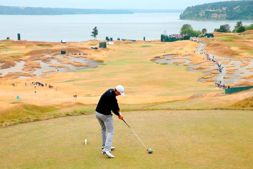 Jordan Spieth tees off during a practice round for the Open at the Robert Trent Jones Jr designed Chambers Bay near Seattle, Washington