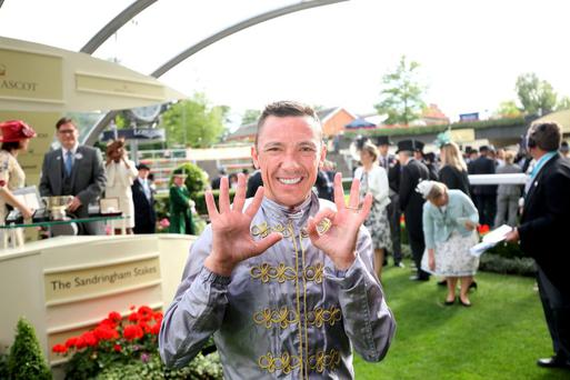 Jockey Frankie Dettori celebrates in the parade ring following victory in the Sandringham Handicap on board Osaila during day two of the 2015 Royal Ascot Meeting at Ascot Racecourse