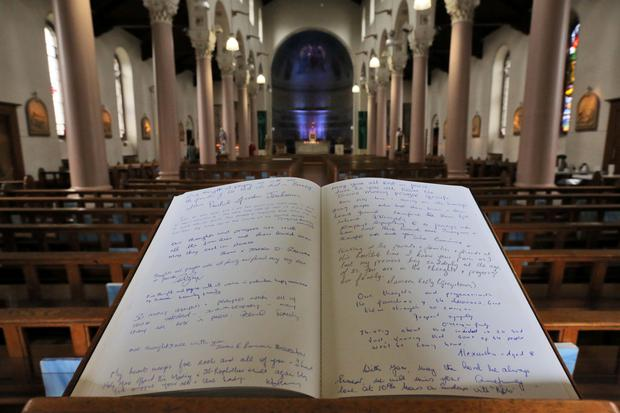 The Book of Condolences which was opened for the victims of the California balcony collapse at Our Lady of Perpetual Succour Church, Foxrock this afternoon...Picture Colin Keegan, Collins Dublin.