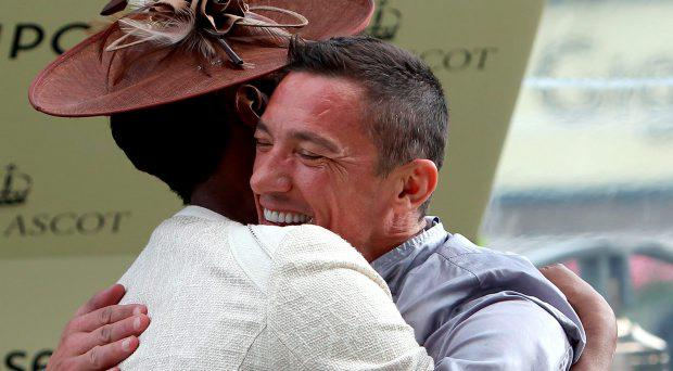 Denise Lewis embraces winning jockey Frankie Dettori following his victory in the Sandringham Handicap on board Osaila during day two of the 2015 Royal Ascot Meeting at Ascot Racecourse