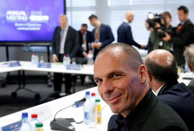 Greek Finance Minister Yanis Varoufakis attends an annual meeting of the European Stability Mechanism (ESM) Board of Governors ahead of an euro zone finance ministers meeting in Luxembourg, June 18, 2015. REUTERS/Francois Lenoir