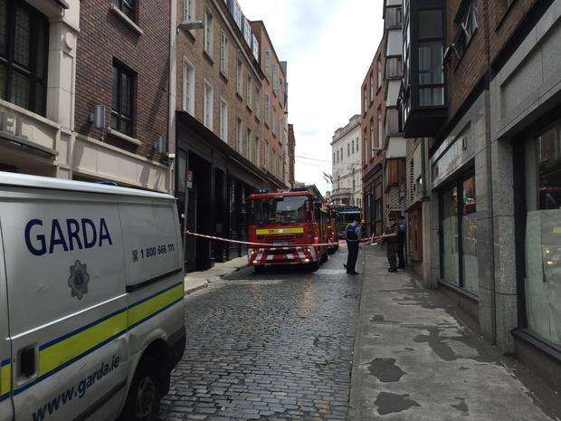 Six fire brigades and the army bomb disposal unit at the scene of GLEN offices (Photo: Mark Condren)