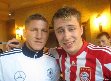 Bastian Schweinsteiger pictured with Niccolai Schuster