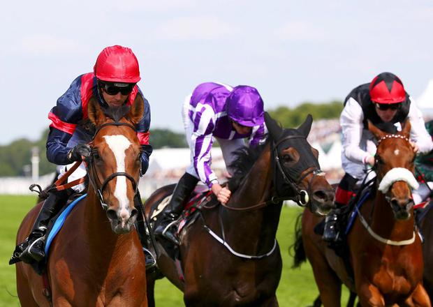 Trip to Paris (L), ridden by Graham Lee races to win the Gold Cup on Ladies Day at Royal Ascot