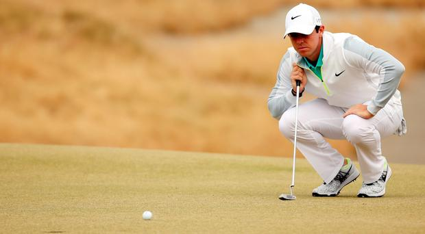 Rory McIlroy of Northern Ireland on the 13th green during the first round of the 115th U.S. Open Championship at Chambers Bay o
