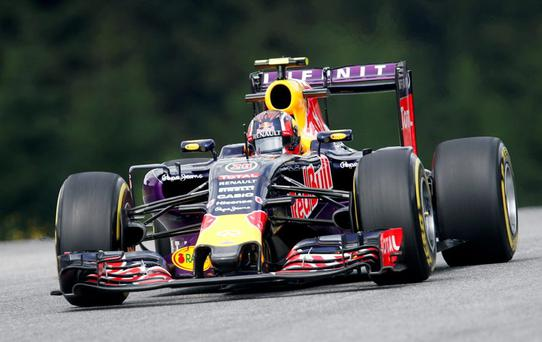 Red Bull driver Daniil Kvyat of Russia steers his car during the first practice session prior to the Formula One Grand Prix, at the Red Bull Ring in Spielberg, southern Austria this morning