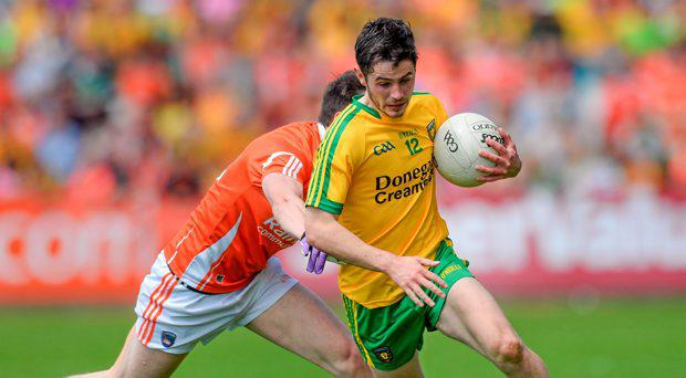 Ryan McHugh, Donegal, in action against Tony Kernan, Armagh