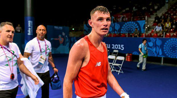 Sean McComb, Ireland, following his Men's Boxing Light 60kg Round of 32 bout with Tymur Beliak, Ukraine. 2015 European Games, Crystal Hall, Baku, Azerbaijan