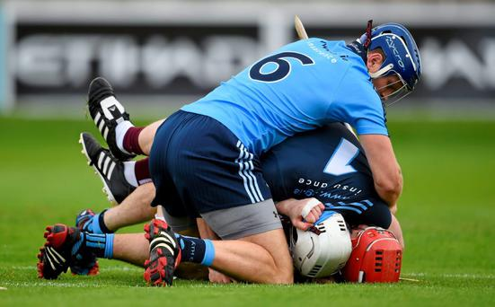 Joe Canning, Galway, tussles with Dublin goalkeeper Alan Nolan and Conal Keaney, top, after scoring his side's fourth goal during their recent victory in the Leinster SHC.