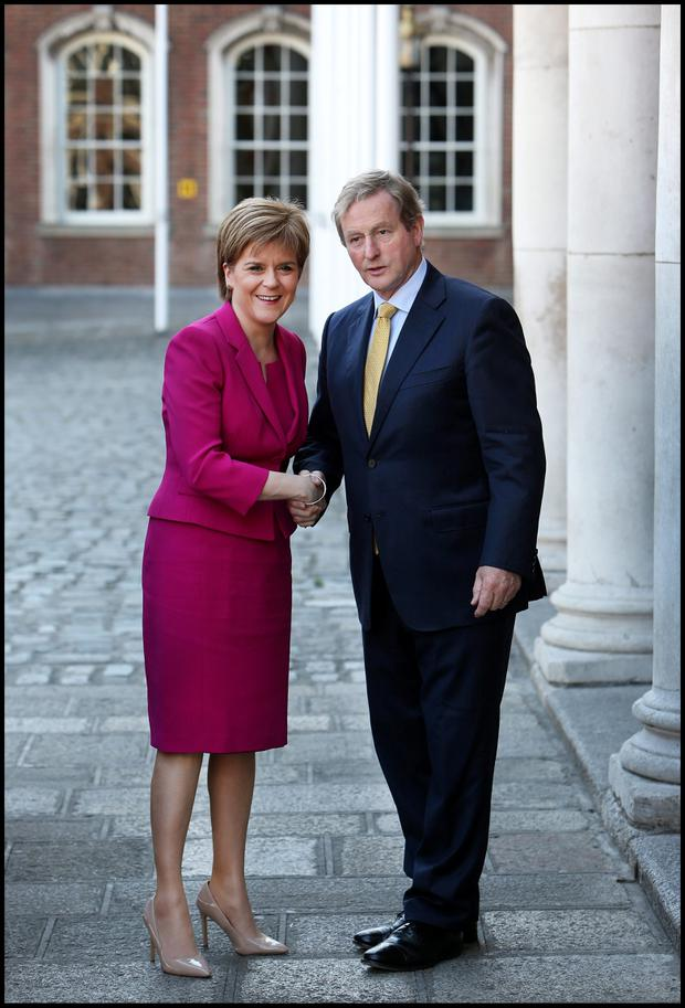 Attending the British-Irish Council Summit at Dublin Castle was First Minister of Scotland Rt. Hon. Nicola Sturgeon MSP and Taoiseach Enda Kenny. Photo: Steve Humphreys