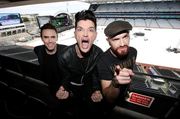 The Script's, Danny O'Donoghue, centre, Mark Sheehan, right, and Glen Power pictured before their sold out concert in Croke Park. Picture credit: Damien Eagers