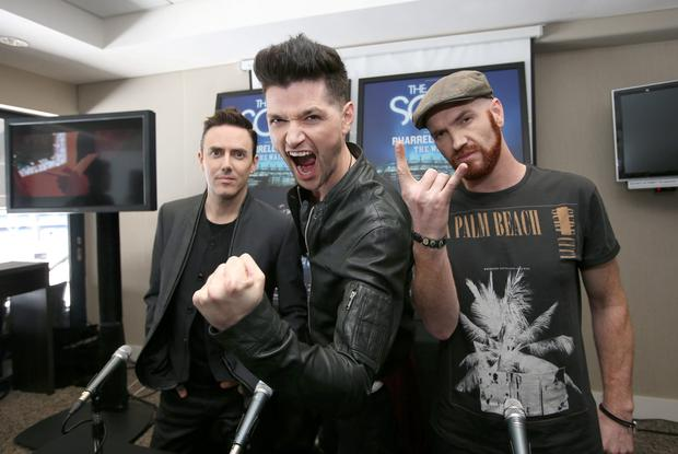 The Script's, Danny O'Donoghue, centre, Mark Sheehan, right, and Glen Power pictured before their sold out concert in Croke Park. Picture credit; Damien Eagers 19/6/2015