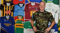Capt Jack Higgins 2 ORD Gp from Athlone and is married to Karen, with three children, Fíonn, Tadhg and Éanna.