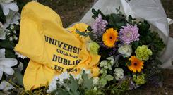 Flowers during a memorial service in UCD, Dublin for the six students who died in the balcony collapse tragedy in Berkeley, California.