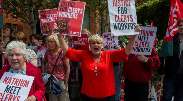 Liz Meade was among the Clerys workers who protested outside Natrium in Dublin. Photo: Doug O'Connor
