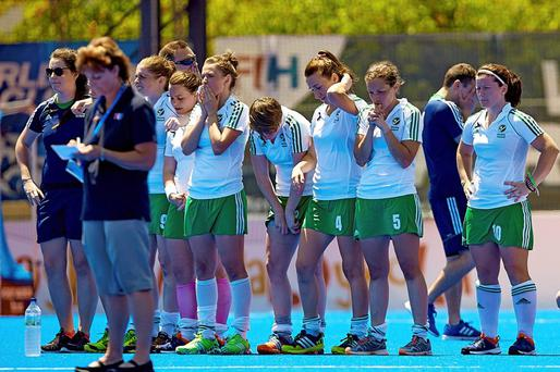 Ireland players dejected after the penalty shootout defeat to China in midweek