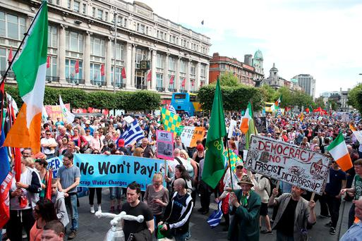 Protesters on O'Connell Street, Dublin, during a demonstration against water charges. Photo: Brian Lawless/PA Wire
