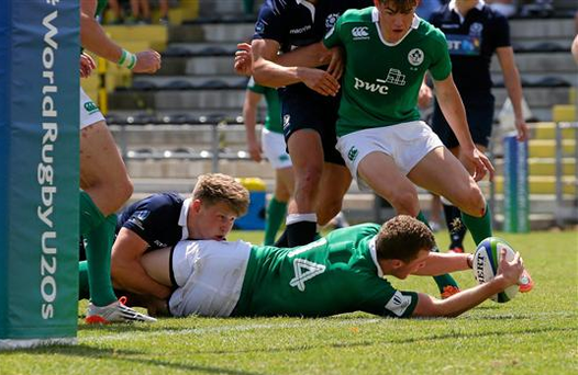 Shannon's Stephen Fitzgerald, pictured as he touches down to score a try, was the hero as Ireland wrapped up their World Rugby Under 20 Championship with a third win in five games in Viadana