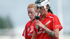 Ashling Thompson, and Laura Treacy, left Cork, are pictured after the Camogie Championship, Group 1, Cork v Galway, at O'Connor Park, as it has emerged that twice as many men as women are involved in team sports