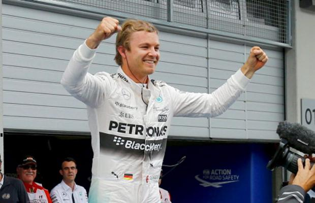 Mercedes driver Nico Rosberg of Germany celebrates after winning the Austrian F1 Grand Prix at the Red Bull Ring circuit in Spielberg, Austria