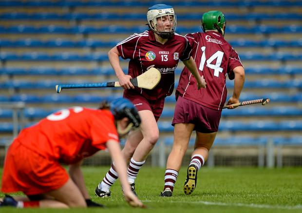 Ailish O'Reilly congratulates the goal of her Galway teammate Molly Dunne after assisting on the play