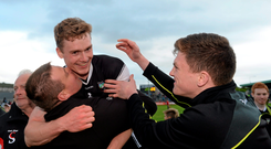 Sligo's Kevin McDonnell celebrates with supporters after the team's shock Connacht SFC semi-final victory over Roscommon, at Markievicz Park, Sligo on Saturday night