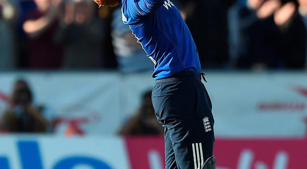 England's Jonny Bairstow celebrates after hitting the winning runs over New Zealand
