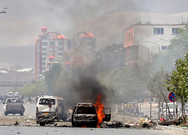 A vehicle is seen on fire after a blast near the Afghan parliament in Kabul, Afghanistan REUTERS/Mohammad Ismail