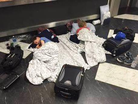 Hundreds of passengers were forced to sleep on the airport floor