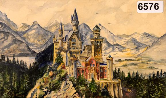 A painting of Neuschwanstein Castle, a watercolor signed by Adolf Hitler Credit: Christof Stache (Getty Images)