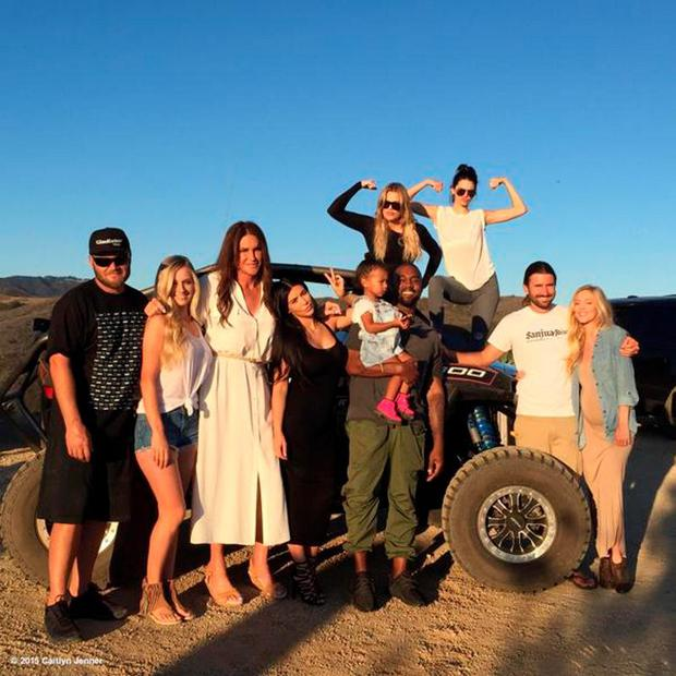 Caitlyn Jenner poses with sons Burt, Brandon, Kim Kardashian, Kanye West, North West, Khloe Kardashian and Kendall Jenner Pic: Caitlyn Jenner/Twitter