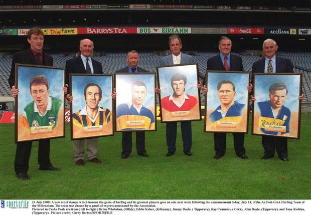 24 July 2000; A new set of stamps which honour the game of hurling and its greatest players goes on sale next week following the announcement today, July 24, of the An Post-GAA Hurling Team of the Millennium. The team was chosen by a panel of experts nominated by the Association. Pictured in Croke Park are from ( left to right ) Brian Whelahan, (Offaly), Eddie Keher, (Kilkenny), Jimmy Doyle, ( Tipperary), Ray Cummins, ( Cork), John Doyle, (Tipperary), and Tony Reddan, (Tipperary). Picture credit; Gerry Barton/SPORTSFILE