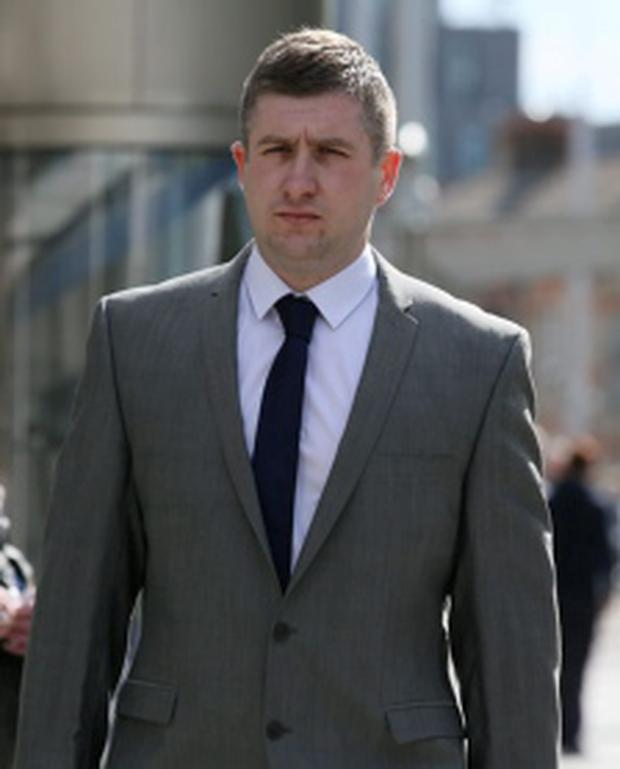 Garda Donal O Neill - who is attached to Pearse Street Garda Station - pictured leaving the Bridewell District Court in Dublin. Pic: Collins Courts