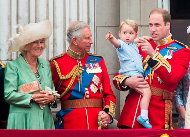 (L-R) Camilla, Duchess of Cornwall, Prince Charles, Prince of Wales, Prince George of Cambridge, Prince William, Duke of Cambridge Catherine look on from the balcony during the annual Trooping The Colour ceremony at Horse Guards Parade on June 13, 2015 in London, England. (Photo by Samir Hussein/WireImage)