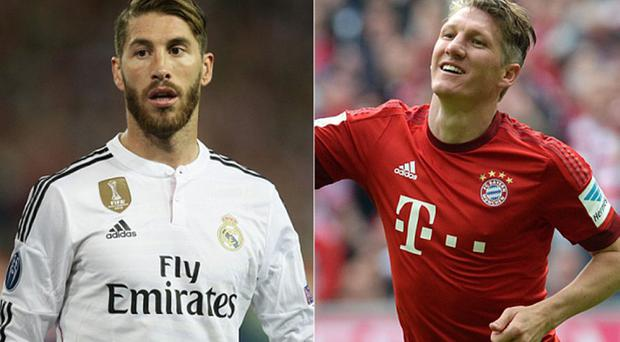 Manchester United want to sign Sergio Ramos (left) and Bastian Schweinsteiger