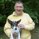 Pat Flynn and his dog Noodles pictured at St. Stephen's Green today