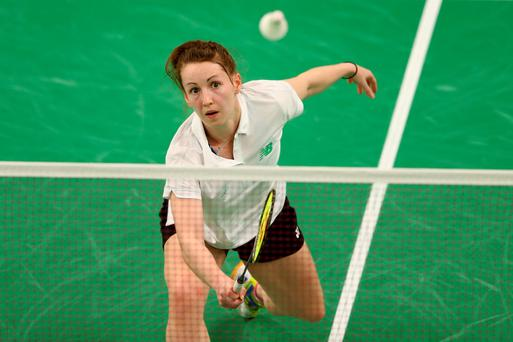 BAKU, AZERBAIJAN - JUNE 23: Chloe Magee of Ireland competes in the Women's Singles Group F match against Kristine Sefere of Latvia during day eleven of the Baku 2015 European Games at the Baku Sports Hall on June 23, 2015 in Baku, Azerbaijan. (Photo by Michael Steele/Getty Images for BEGOC)