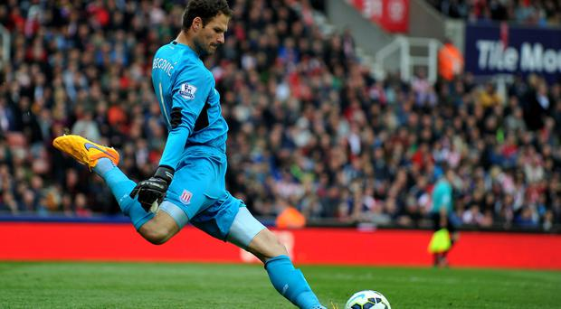 Stoke City's goalkeeper Asmir Begovic
