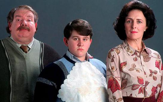 Richard Griffiths as Vernon Dursley, Harry Melling as Dudley and Fiona Shaw as Aunt Petunia