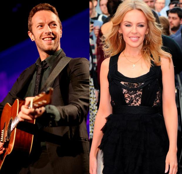 Chris Martin (left) and Kylie Minogue (right) were spotted on a late night London walk this week