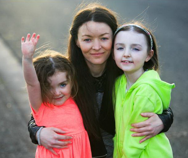 Bernadette Dornan, from Whitehall in north Dublin, with her daughters Robyn Smyth (12) and Millie Smyth (5) in 2015